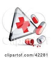 Clipart Illustration Of A First Aid Sign With Pill Capsules by beboy