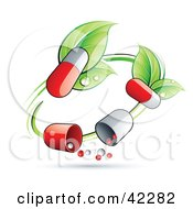 Clipart Illustration Of A Green Circle Vine With Pill Capsules by beboy