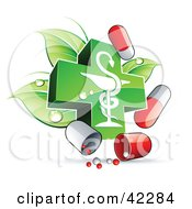 Clipart Illustration Of A Green Caduceus With Dewy Leaves And Pill Capsules