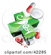 Clipart Illustration Of A Green Caduceus With Vitamins And Pill Capsules