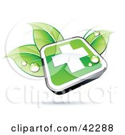 Clipart Illustration Of A Green Shiny Square First Aid Cross Button On Dewy Leaves by beboy