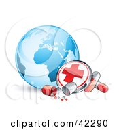 Clipart Illustration Of A First Aid Button And Pills In Front Of A Blue Globe