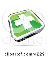 Clipart Illustration Of A Green Shiny Square First Aid Cross Button