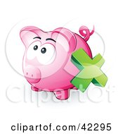 Green X Mark Over A Pink Piggy Bank