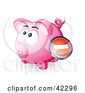 Clipart Illustration Of A Negative Button Over A Pink Piggy Bank