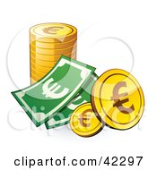 Clipart Illustration Of A Dollar Bill With A Stack Of Euro Coins