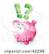 Clipart Illustration Of A Pink Piggy Bank With A Question Mark And Exclamation Point