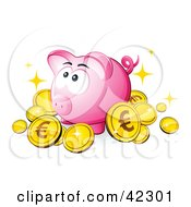 Clipart Illustration Of A Pink Piggy Bank Surrounded By Sparkly Euro Coins