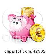Clipart Illustration Of A Pink Piggy Bank With A Stack Of Euro Coins
