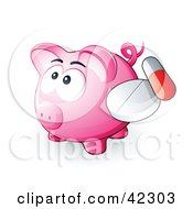 Clipart Illustration Of A Pink Piggy Bank With A Pill And Capsule