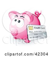 Clipart Illustration Of A Credit Card Resting Against A Pink Piggy Bank