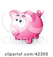 Clipart Illustration Of A Nervous Pink Piggy Bank Looking Upwards