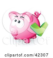 Clipart Illustration Of A Green Check Mark Over A Pink Piggy Bank by beboy