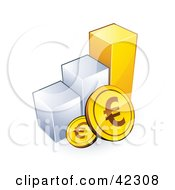 Clipart Illustration Of Euro Coins Resting Against A Bar Graph by beboy