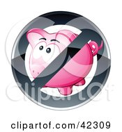 Clipart Illustration Of A Shiny Black Restriction Sign Over A Pink Piggy Bank by beboy