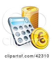 Clipart Illustration Of A Calculator Resting Against A Stack Of Euro Coins by beboy