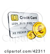 Clipart Illustration Of A Golden Euro Coins With A Credit Card by beboy