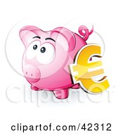 Yellow Euro Symbol Resting Against A Pink Piggy Bank