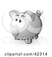 Clipart Illustration Of A Nervous Gray Piggy Bank Looking Upwards by beboy