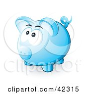 Clipart Illustration Of A Nervous Blue Piggy Bank Looking Upwards