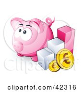 Bar Graph And Euro Cons By A Pink Piggy Bank