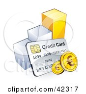 Clipart Illustration Of A Credit Card With Euro Coins Resting Against A Bar Graph by beboy