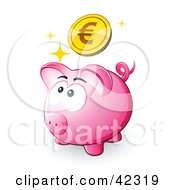 Sparkly Euro Coin Above A Pink Piggy Bank