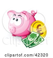 Pink Piggy Bank With Cash And A Euro Coin
