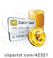 Clipart Illustration Of A Credit Card With A Stack Of Euro Coins by beboy