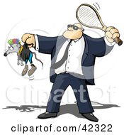 Clipart Illustration Of A Tough Security Guard Whacking A Rat With A Racket