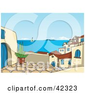 Clipart Illustration Of A Patio View With A View Of A Sailboat On The Sea And Roofs Of A Greek Village