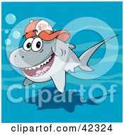 Clipart Illustration Of A Friendly Gray Shark Wearing A Fish Bone Baseball Cap by Holger Bogen
