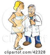 Clipart Illustration Of A Sleazy Male Doctor Eying A Female Patient by Snowy