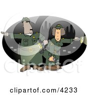 Male And Female Mexican Border Patrol Police Officers Looking For Illegal Immigrants Crossing The US Border At Night Clipart
