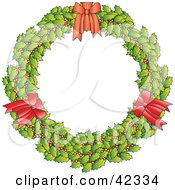 Holly Christmas Wreath With Three Red Bows