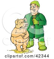 Clipart Illustration Of A Veterinarian Attending To A Pig Standing In Barf by Snowy