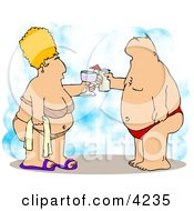 Obese Husband And Wife Vacationing At The Beach Clipart Illustration