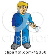 Clipart Illustration Of A Dirty Blond Male Mechanic Holding A Wrench by Snowy