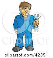 Clipart Illustration Of A Dirty Brunette Male Mechanic Holding A Wrench by Snowy