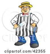 Clipart Illustration Of An Energetic Male Butcher Standing With His Knife by Snowy #COLLC42355-0092