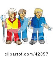 Clipart Illustration Of A Construction Worker And Two Mechanics With Wrenches by Snowy