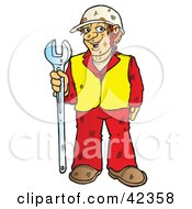 Clipart Illustration Of A Dirty And Friendly Construction Worker Holding A Big Wrench by Snowy