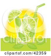 Clipart Illustration Of A Mojito Cocktail Served With Lime Slices And Mint Leaves by suzib_100