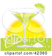 Clipart Illustration Of A Margarita Served With Salt And Lime Slices