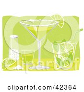 Clipart Illustration Of A Shot Glass Salt Lime Margarita And Mojito On A Bar by suzib_100