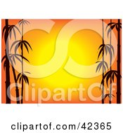 Clipart Illustration Of An Orange Asian Sunset Framed By Black Silhouetted Bamboo