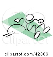 Clipart Illustration Of A Stick Figure Long Jumping On A Green Runway by Johnny Sajem