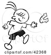 Clipart Illustration Of A Black And White Stick Girl Throwing Horse Shoes