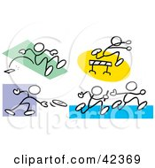 Clipart Illustration Of Stick Figures Doing The Long Jump Leaping Over Hurdles Tossing A Discus And Running A Relay
