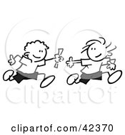 Clipart Illustration Of Black And White Stick Boys Running A Relay Race And Passing A Baton by Johnny Sajem